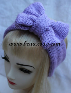 Knitted Bow Headband, Knitted Headband, Cute and Cosy Ear Warmer in Lilac Lavender