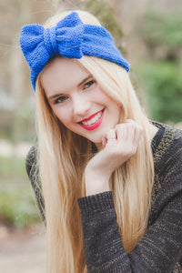 Sparkly Royal Blue Knitted Bow Headband, Glitter Knitted Headband, Cosy Knit Ear Warmer