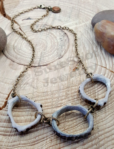Triple Antler Slice Circle of Life Designer Necklace