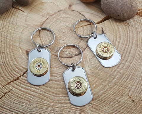 12 Gauge Shotshell Stainless Steel Dog Tag Key Chain
