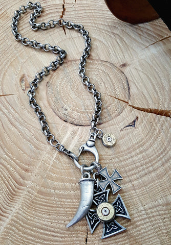 Double Maltese Cross, Horn/Tusk Bullet Necklace