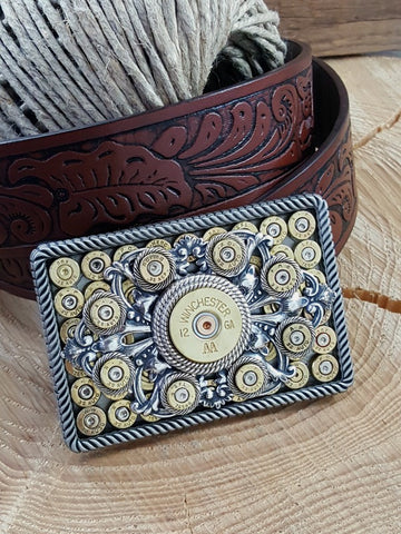 Bullet & Shotshell Rectangle Rope Detail Belt Buckle