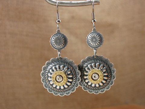 Round Silver Concho Bullet Earrings