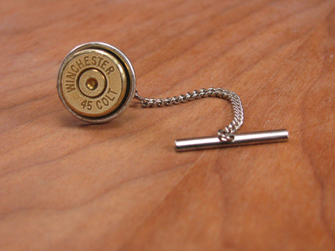 45 Colt Bullet Casing Silver Tie Tack with Chain