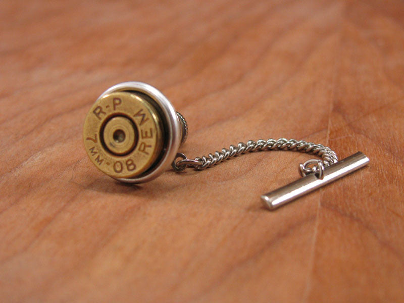Brass Bullet Casing Silver Tie Tack with Chain