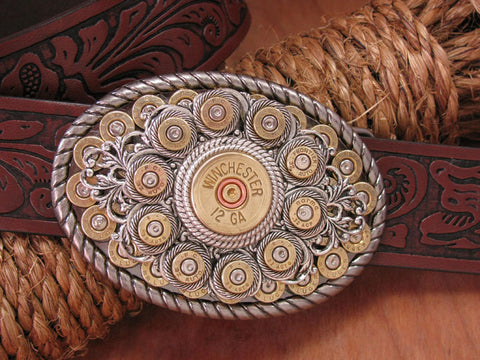 Bullet & Shotshell Oval Belt Buckle II
