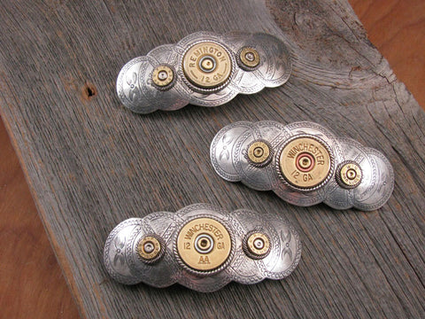Bullet & Shotshell Oval Scallop French Style Hair Barrette