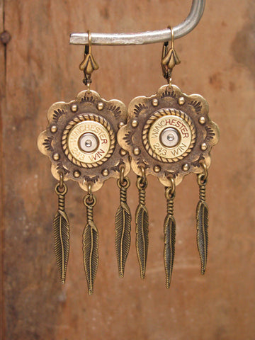 Bullet Casing Brass Concho and Feather Leverbacks