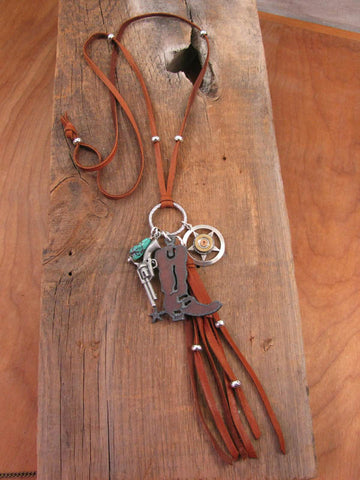 Long Boho Style Rusty Boot Western Cowgirl Leather Charm Necklace