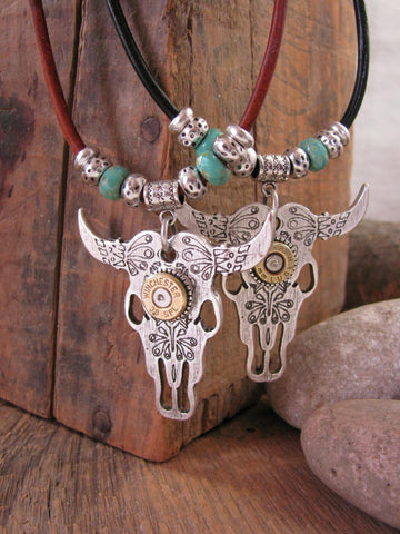 Silver Cattle Skull / Longhorn Steer Leather Cord Turquoise Beaded Bullet Necklace