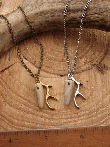 Tiny Tine Necklace - Antler Tip and Charm Petite Antler Necklace
