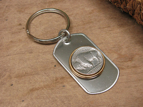 Buffalo Nickel Coin Stainless Steel Dog Tag Key Ring