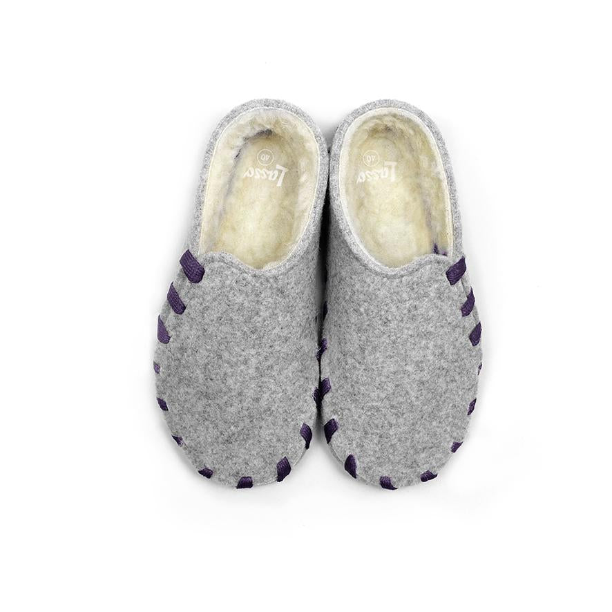 Lasso Furry Slippers Grey&Violet