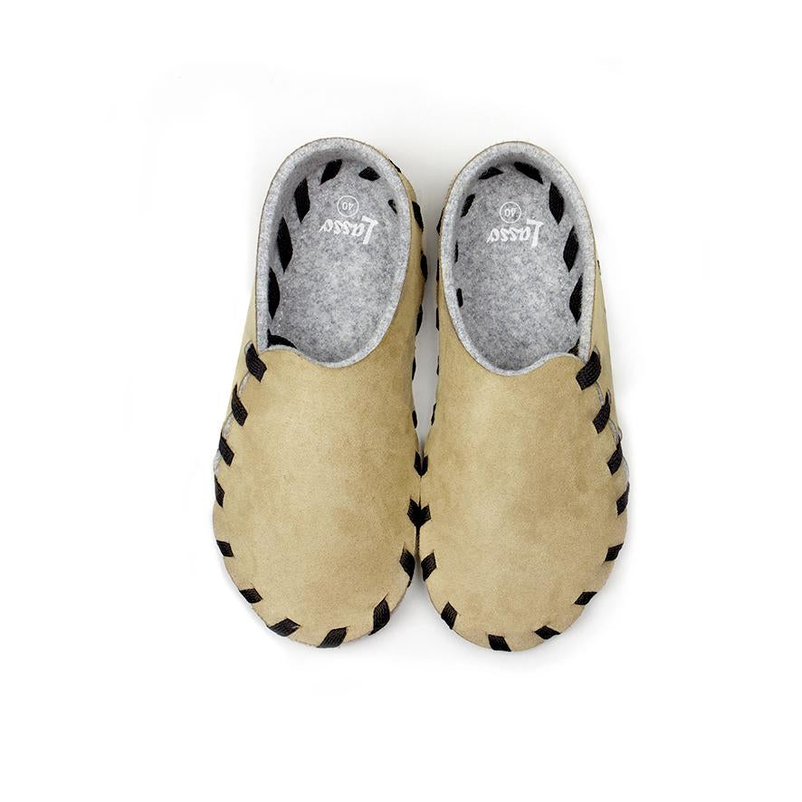 Lasso Nubuk Slippers in Beige