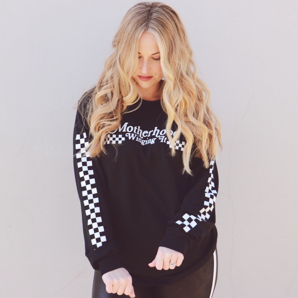 """Motherhood Winging It®"" Checkered Racer Long Sleeve"