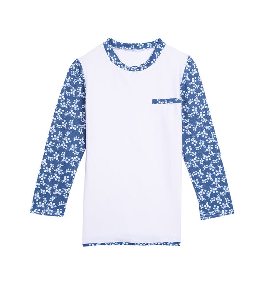 White and Blue Ditsies Rash Guard