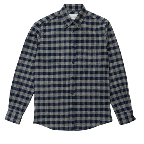 Brushed check button down - Blue Grey