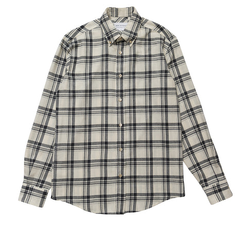 Brushed Cream Check Button Down