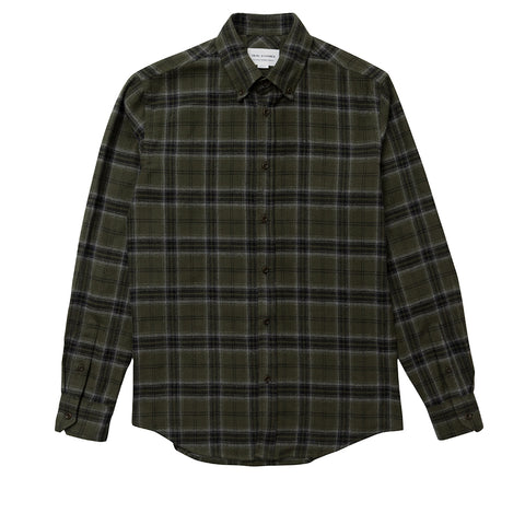 Brushed Olive Check Button Down