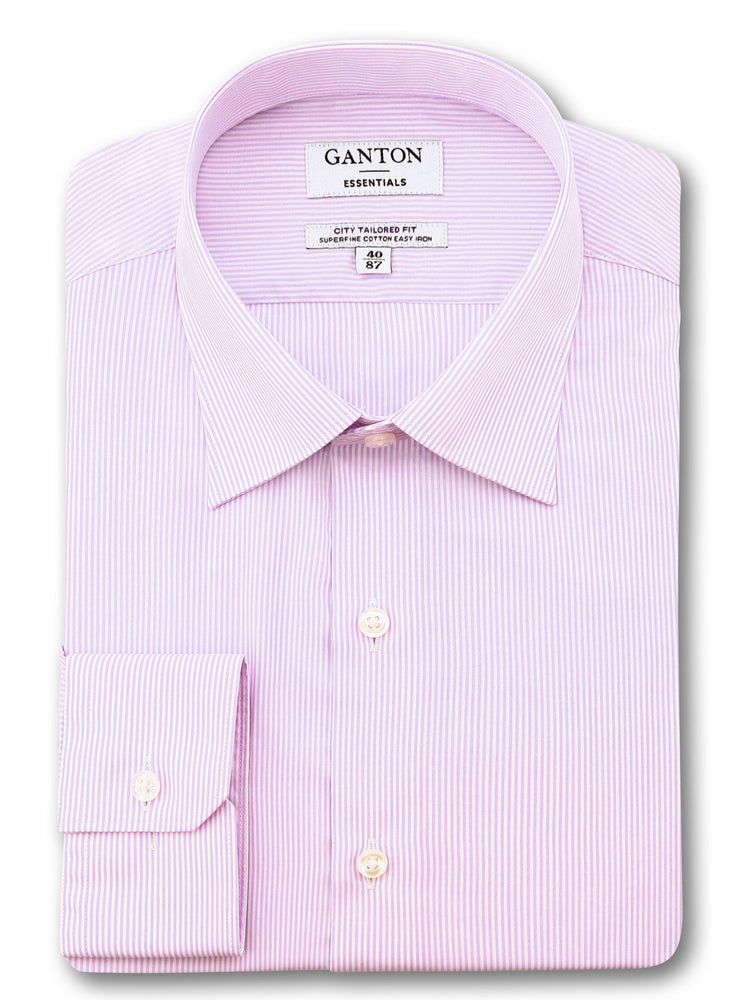 All Pink White Stripe Tailored Fit Ecclestone Easy Iron Superfine Cotton Essential Shirt