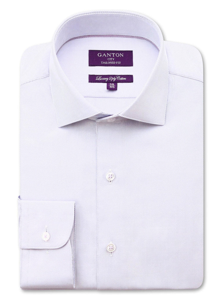 Lilac Twill Tailored Fit Benjamin Luxury 2 Ply Cotton Shirt