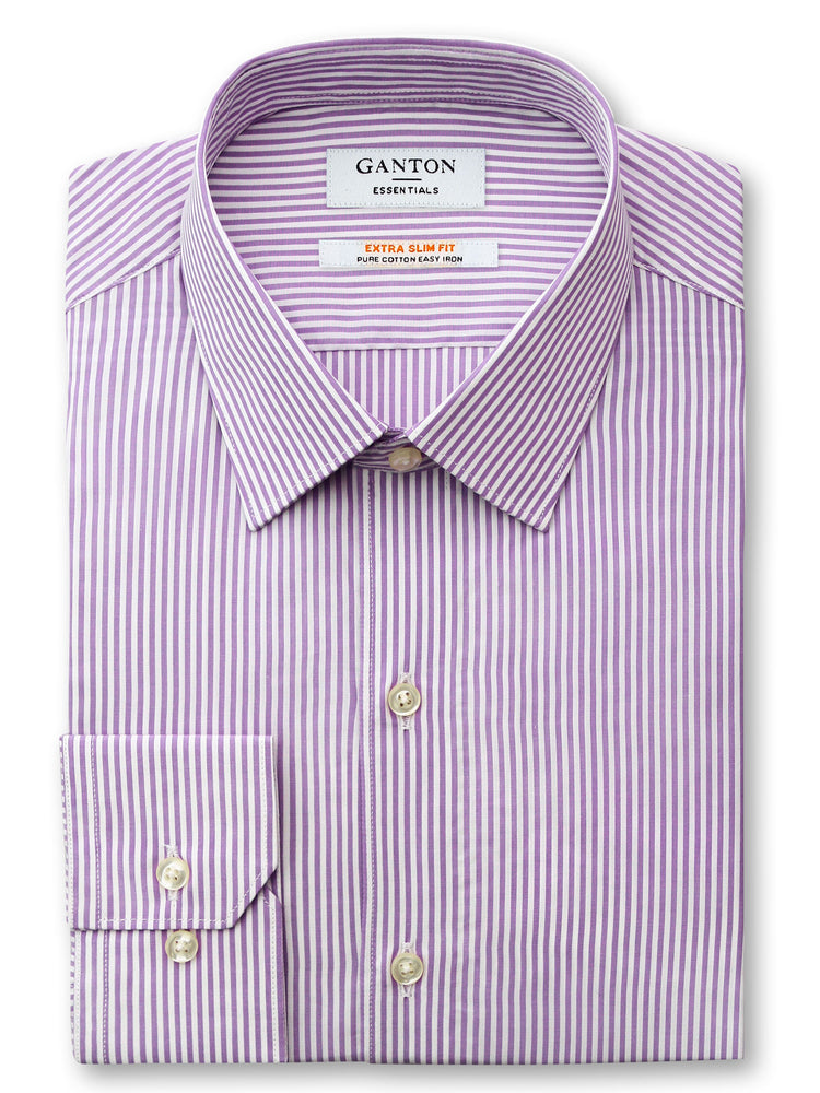 Purple White Stripe Slim Fit Edmond Easy Iron Superfine Cotton Essentials Shirt