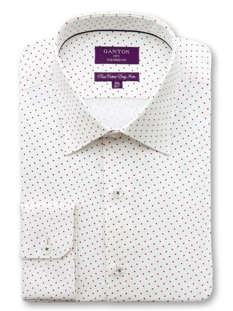 White Red Print Tailored Fit Chester Easy Iron Pure Cotton Shirt