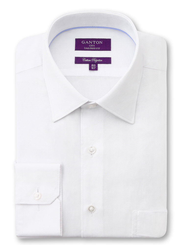 White Textured Tailored Fit Darcy Cotton Polyester Shirt