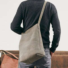 Mens Leather Cool Shoulder Tote Bag Messenger Bag Tote Side Bag for Men