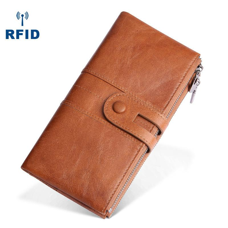 RFID Cool Leather Brown Men's Bifold Long Wallet Multi Cards Black Long Wallet For Men