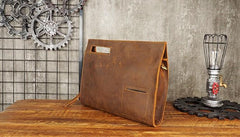 Cool Leather Mens Leather Large Clutch Wristlet Bag Shoulder Bag Side Bag for Men