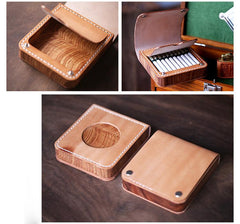 Handmade Wooden Black Leather Mens 20pcs Cigarette Case Cool Custom Cigarette Holder for Men