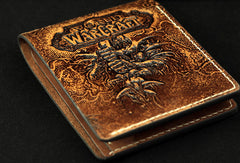 Handmade leather Small wallet custom WOW lich king Arthas carved leather short wallets for men