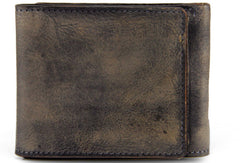 Handmade men short leather wallet men vintage brown gray wallet for him