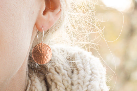 textured copper dot rings by Beth Millner Jewelry
