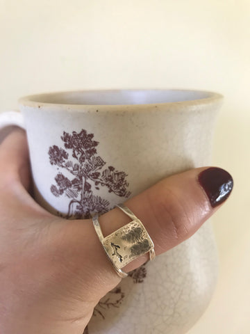 Mini Rustic Upper Peninsula of Michigan Ring by Beth Millner Jewelry