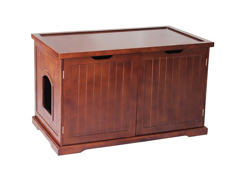 Cat Washroom Bench in Walnut Litter Box Cover - Pet Possibilities