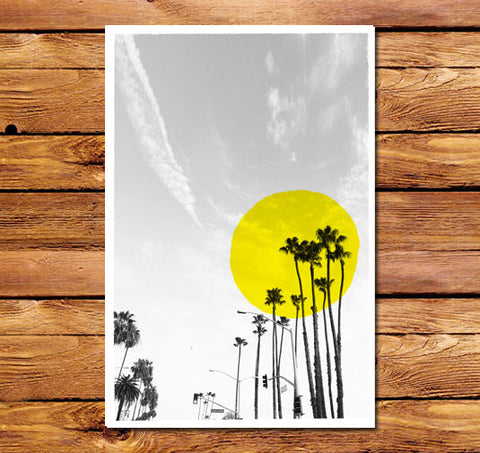 Palm Sun Yellow Poster