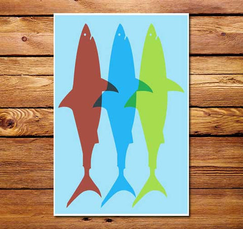 Three Sharks Poster