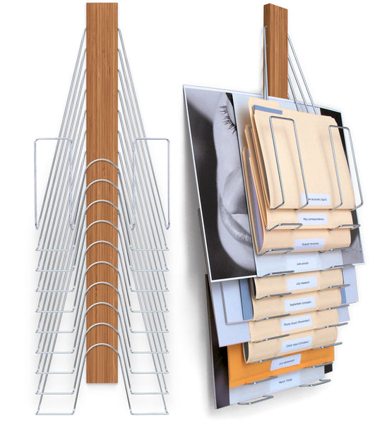 Hanging Wall File Organizer- made of Bamboo and Nickel Plated Steel. has 10 slots or pockets to hold letter sized files, legal sized files, and oversized flat-files.