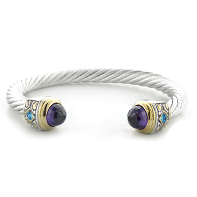 Nouveau Large Wire Cuff Bracelet with Top Stone