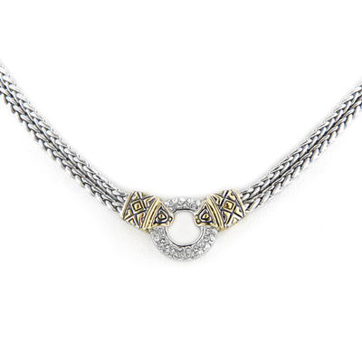 Antiqua Pave Circle Double Strand Necklace