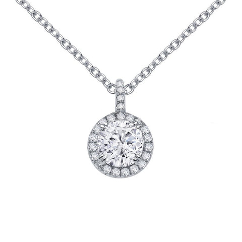 Pave Halo Pendant Necklace