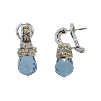 Briolette Drop Post CZ Clip Earrings