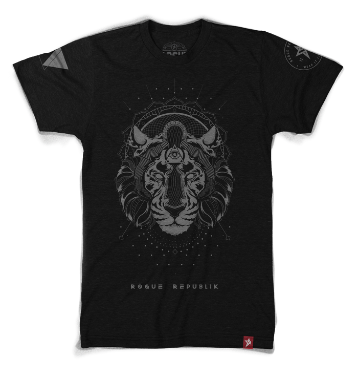 Majestic Rogue Tiger Tee, (Black with grey graphics)