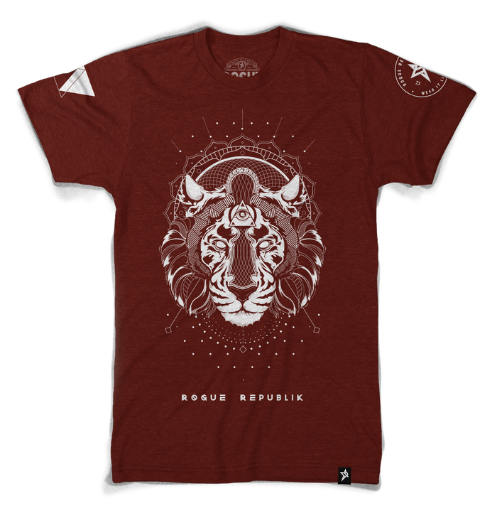 Majestic Rogue Tiger Tee, (Vintage red, bone ink graphics)