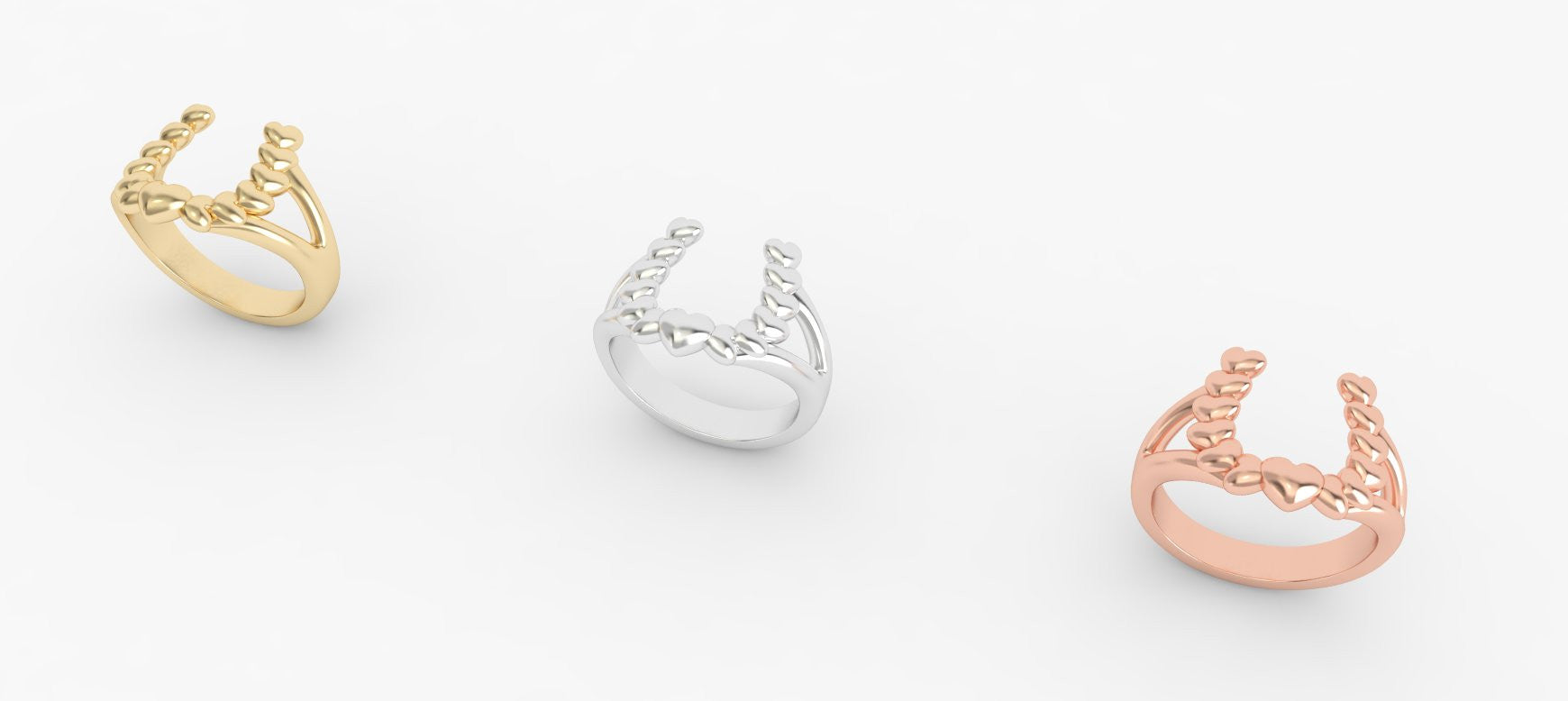 Cascading Heart Horseshoe Ring