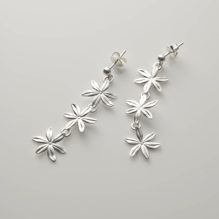 Cover me in daisies three flower earrings in silver