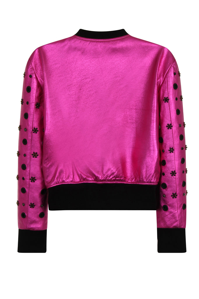 Metallic leather flower studded bomber JKTA15