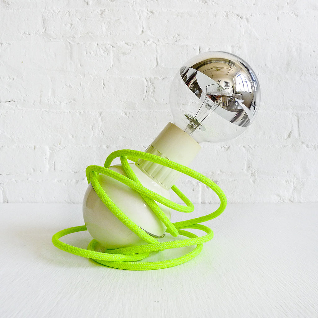 20% SALE - Retro Atomic Mid-Century Wobble Ball Light with Neon Yellow Green Color Cord